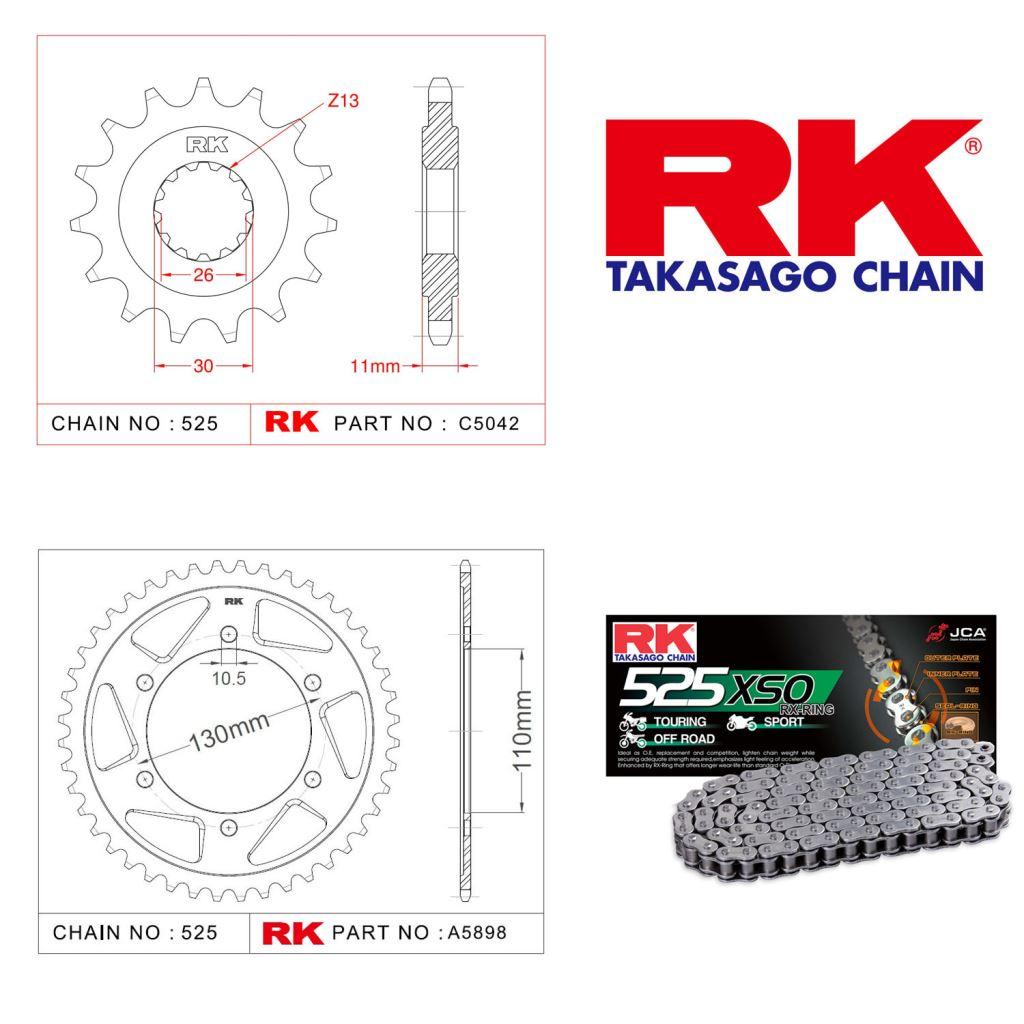 Rk X-ring Zincir Dişli Set 525 XSO-16/43T
