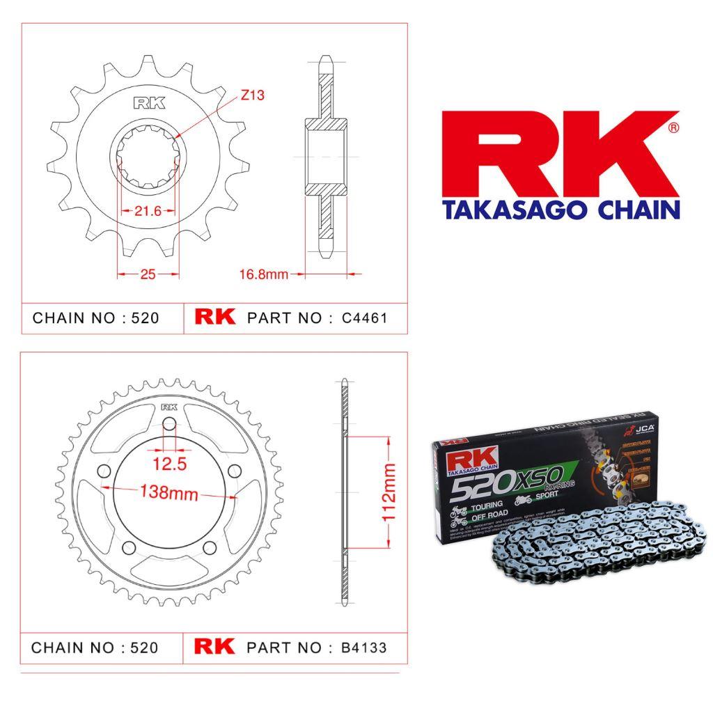 Rk Zincir Dişli Set 520 XSO X-Ring 17/38T