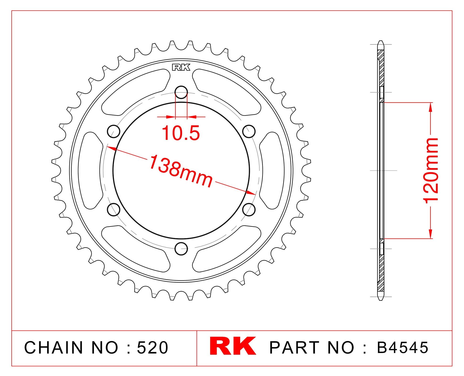 RK Çelik Arka Dişli B4545-38