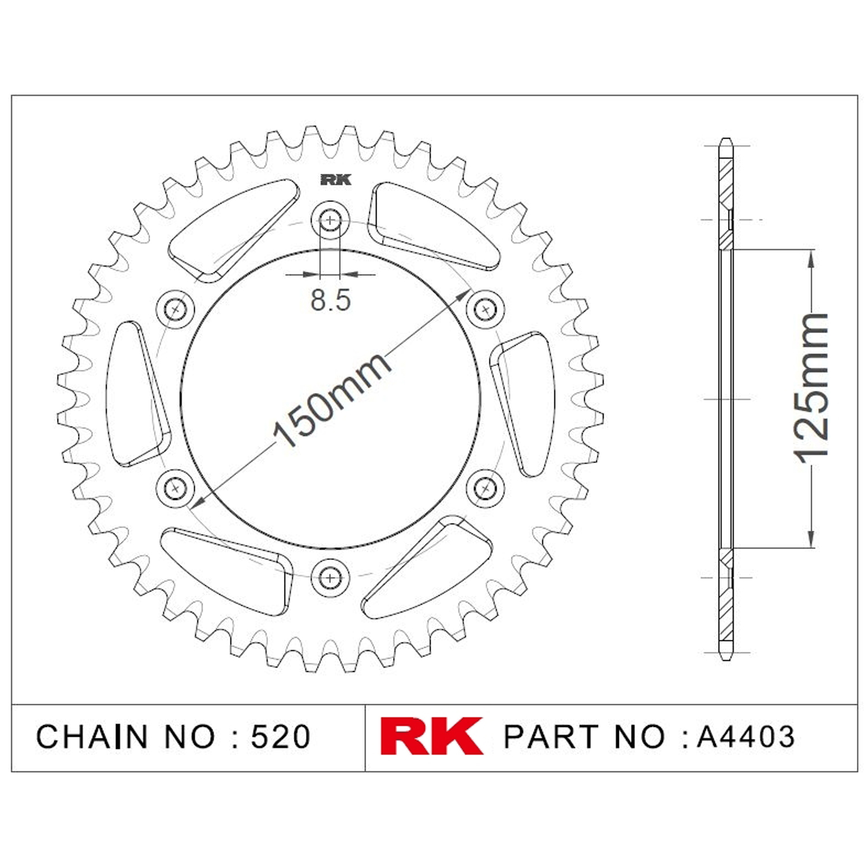 RK Aluminyum Arka Dişli Turuncu A4403-52-1N