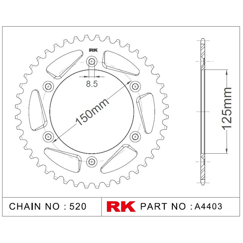 RK Aluminyum Arka Dişli A4403-52