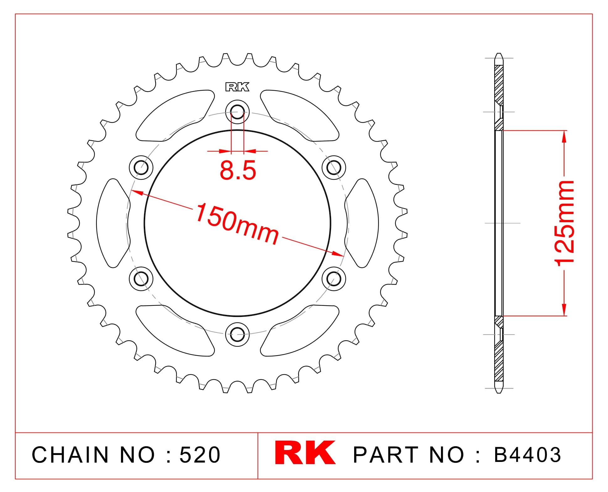 Ktm EXC 250 SIX DAYS RK Çelik Arka Dişli B4403-40