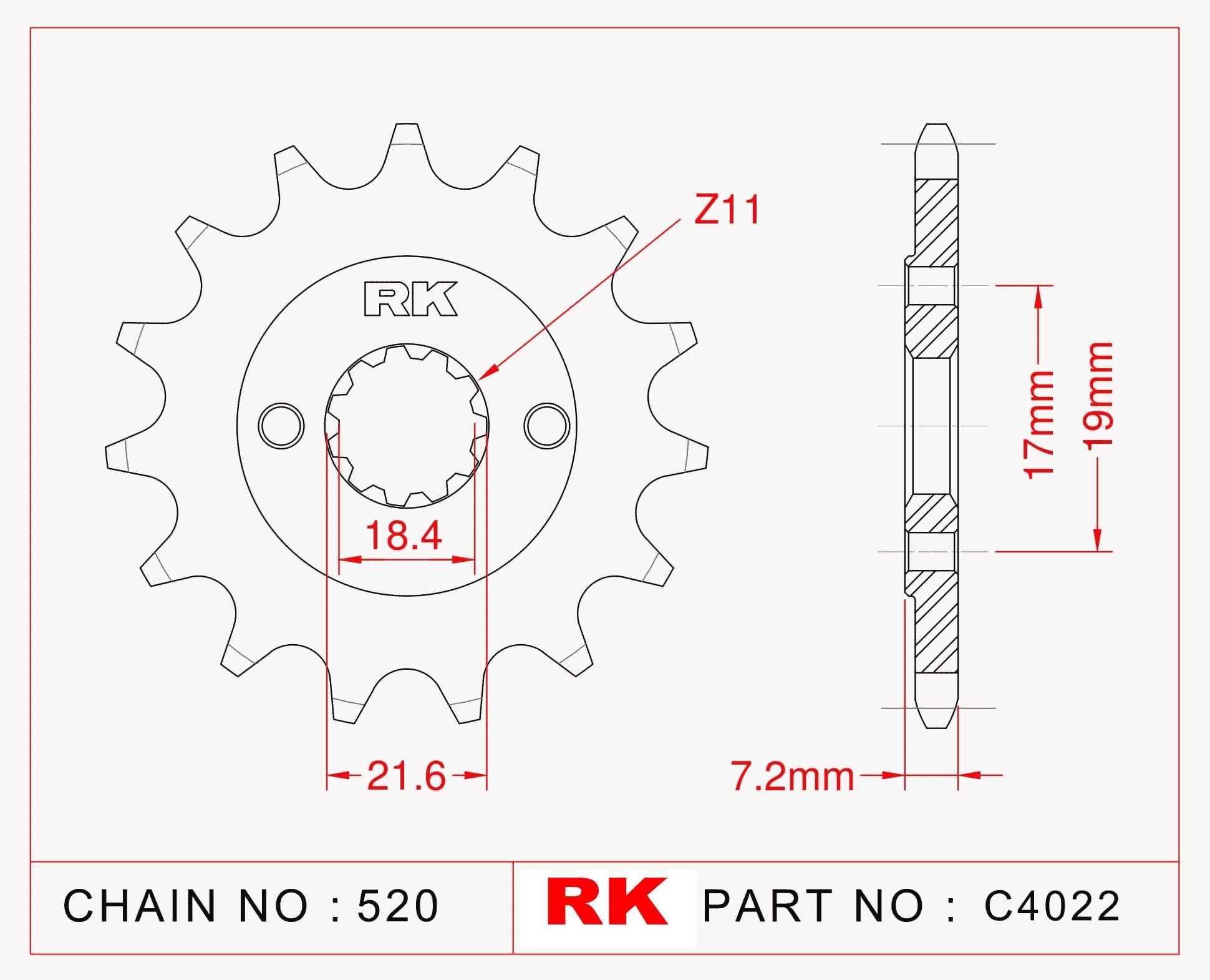 RK Çelik Ön Dişli C4022-14