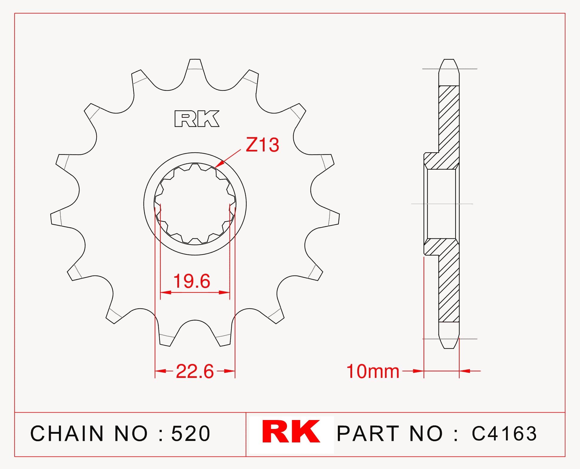 Suzuki DR-Z 400 S RK Çelik Ön Dişli C4163-15