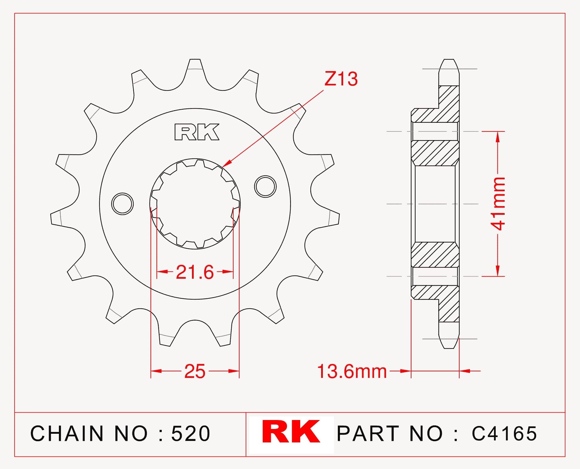 Kawasaki ZX-6 R NINJA RK Çelik Ön Dişli C4165-15