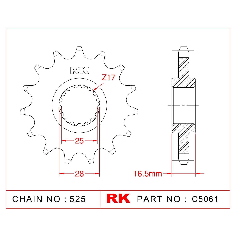 RK Çelik Ön Dişli C5061-17