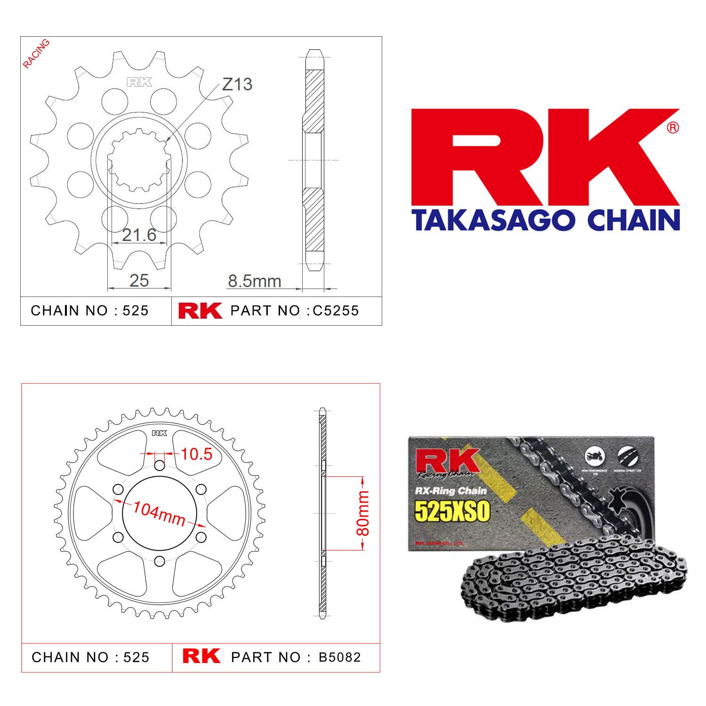Rk X-ring Zincir Dişli Set 525 XSO 15/43T