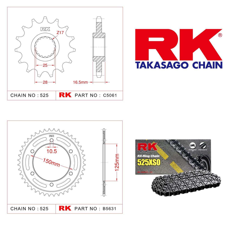 Rk X-ring Zincir Dişli Set 525 XSO 17/42T