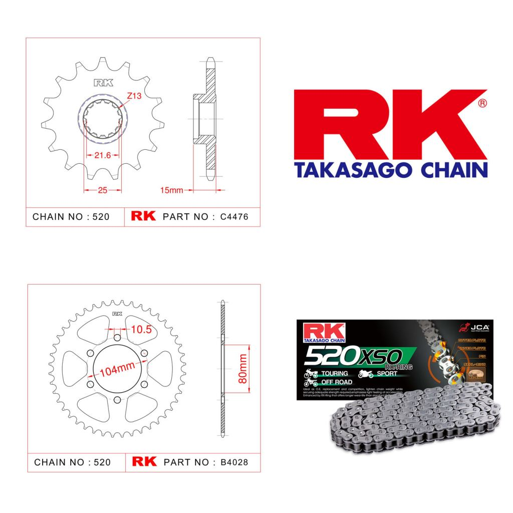 Rk X-ring Zincir Dişli Set 520 XSO-15/40T